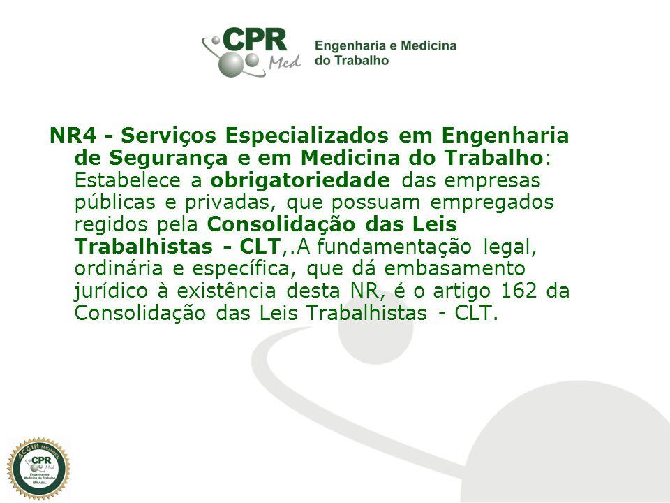 NR4 - Serviços Especializados em Engenharia de Segurança e em Medicina do Trabalho: Estabelece a obrigatoriedade das empresas públicas e privadas, que