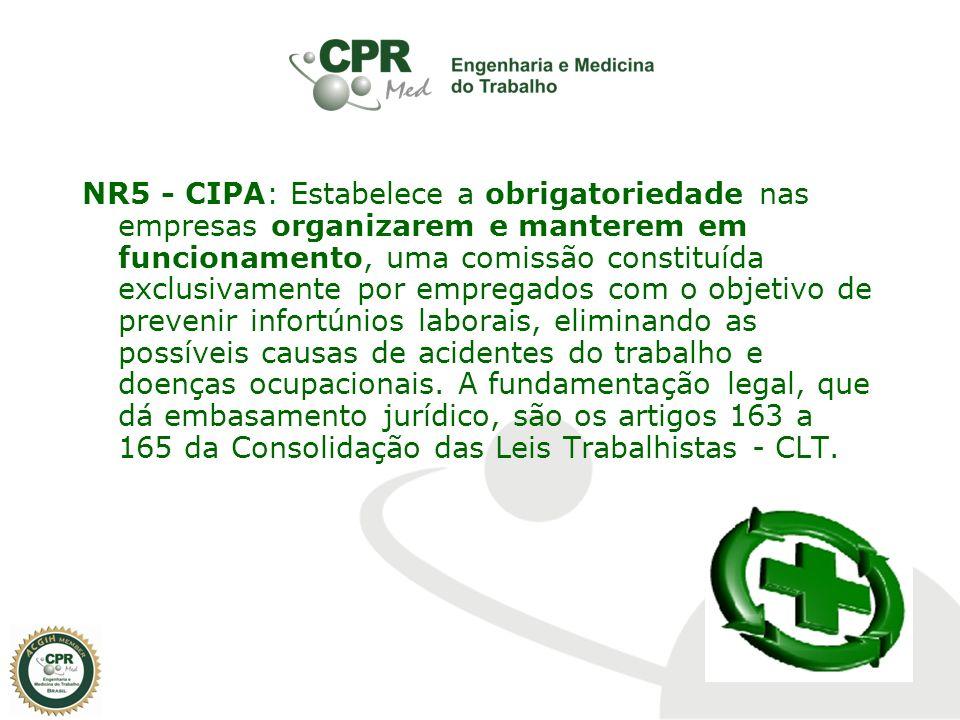 NR5 - CIPA: Estabelece a obrigatoriedade nas empresas organizarem e manterem em funcionamento, uma comissão constituída exclusivamente por empregados