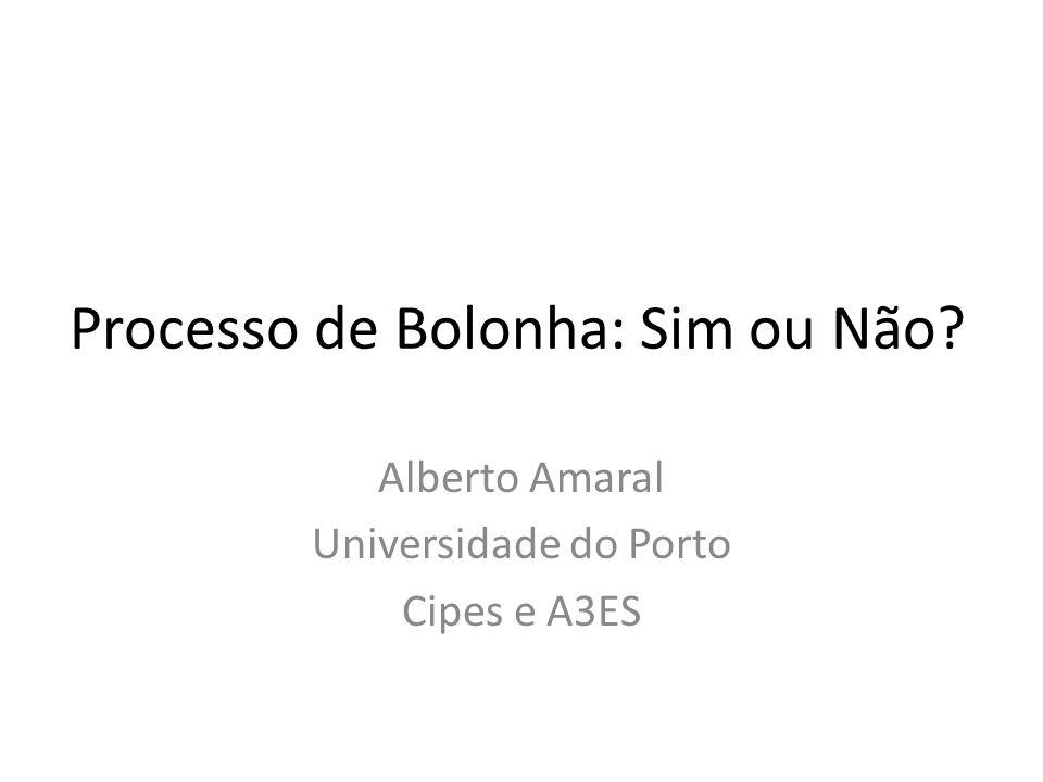 Processo de Bolonha: Sim ou Não? Alberto Amaral Universidade do Porto Cipes e A3ES