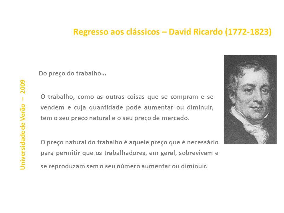 Regresso aos clássicos – David Ricardo (1772-1823) Universidade de Verão – 2009 Num sistema de comércio perfeitamente livre, cada país consagra o seu