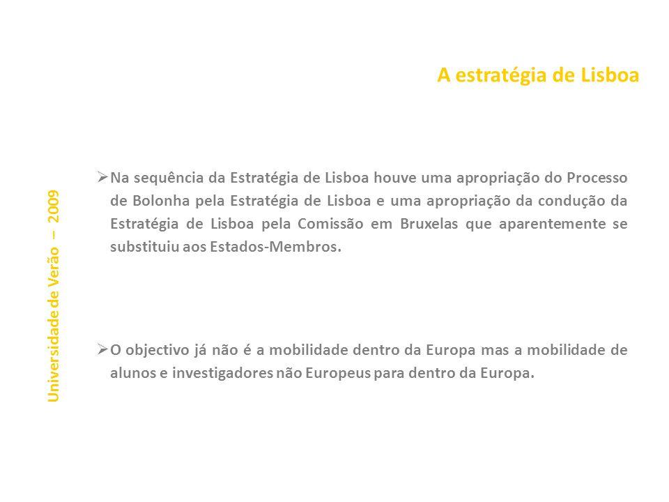 A estratégia de Lisboa A Estratégia de Lisboa trata o ensino superior (ES) como um meio central para o crescimento económico, como uma condição necess