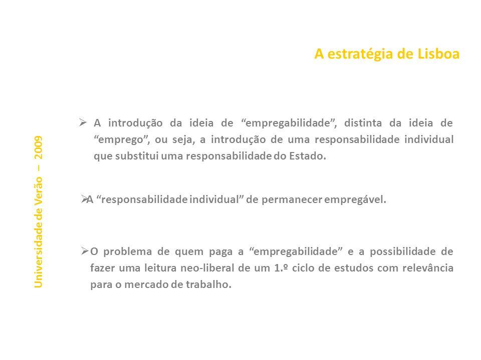 A estratégia de Lisboa Universidade de Verão – 2009 Na sequência da Estratégia de Lisboa houve uma apropriação do Processo de Bolonha pela Estratégia