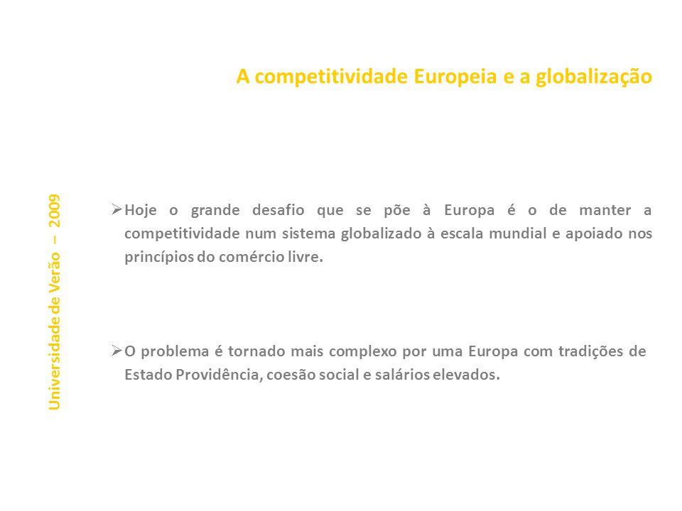 A competitividade Europeia e a globalização A nova atitude negocial do patronato (Alemanha e França) Universidade de Verão – 2009 A globalização e a s