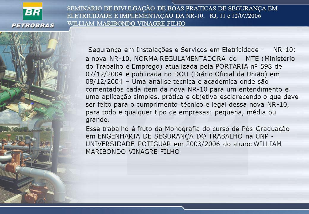 SEMINÁRIO DE DIVULGAÇÃO DE BOAS PRÁTICAS DE SEGURANÇA EM ELETRICIDADE E IMPLEMENTAÇÃO DA NR-10. RJ, 11 e 12/07/2006 WILLIAM MARIBONDO VINAGRE FILHO Se