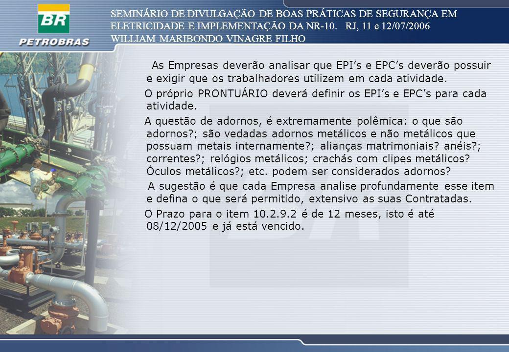 SEMINÁRIO DE DIVULGAÇÃO DE BOAS PRÁTICAS DE SEGURANÇA EM ELETRICIDADE E IMPLEMENTAÇÃO DA NR-10. RJ, 11 e 12/07/2006 WILLIAM MARIBONDO VINAGRE FILHO As
