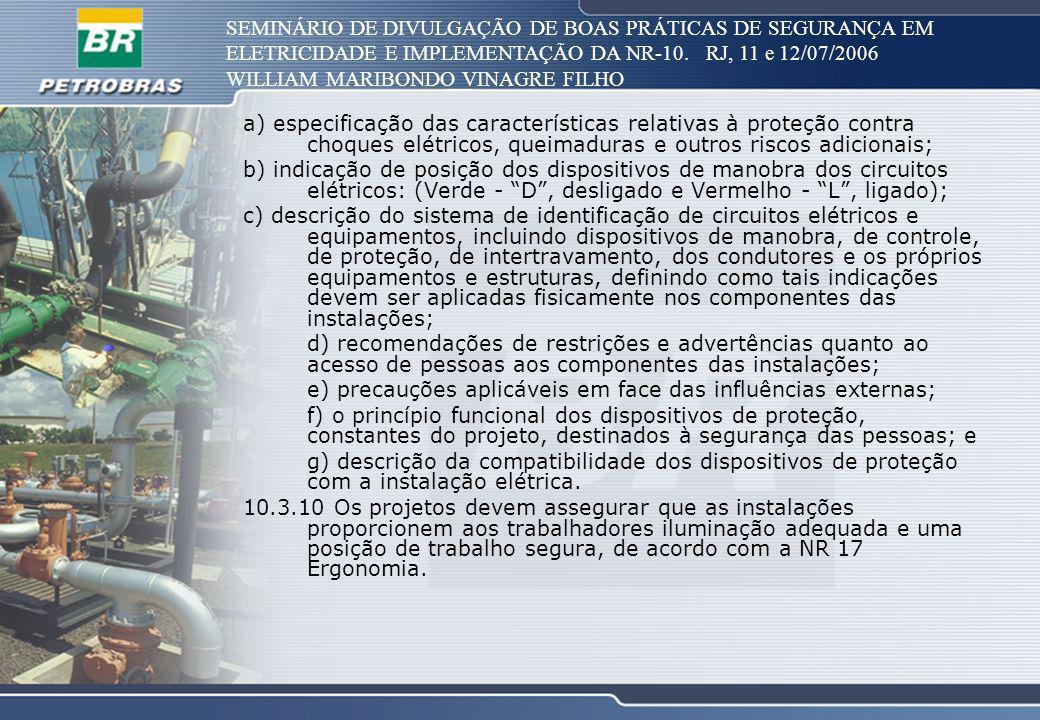 SEMINÁRIO DE DIVULGAÇÃO DE BOAS PRÁTICAS DE SEGURANÇA EM ELETRICIDADE E IMPLEMENTAÇÃO DA NR-10. RJ, 11 e 12/07/2006 WILLIAM MARIBONDO VINAGRE FILHO a)