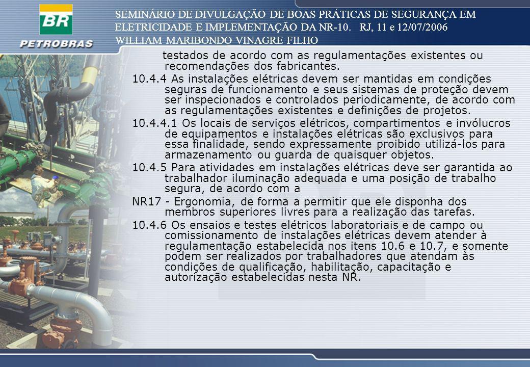 SEMINÁRIO DE DIVULGAÇÃO DE BOAS PRÁTICAS DE SEGURANÇA EM ELETRICIDADE E IMPLEMENTAÇÃO DA NR-10. RJ, 11 e 12/07/2006 WILLIAM MARIBONDO VINAGRE FILHO te