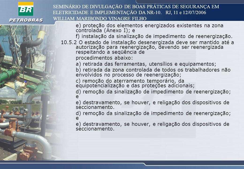 SEMINÁRIO DE DIVULGAÇÃO DE BOAS PRÁTICAS DE SEGURANÇA EM ELETRICIDADE E IMPLEMENTAÇÃO DA NR-10. RJ, 11 e 12/07/2006 WILLIAM MARIBONDO VINAGRE FILHO e)