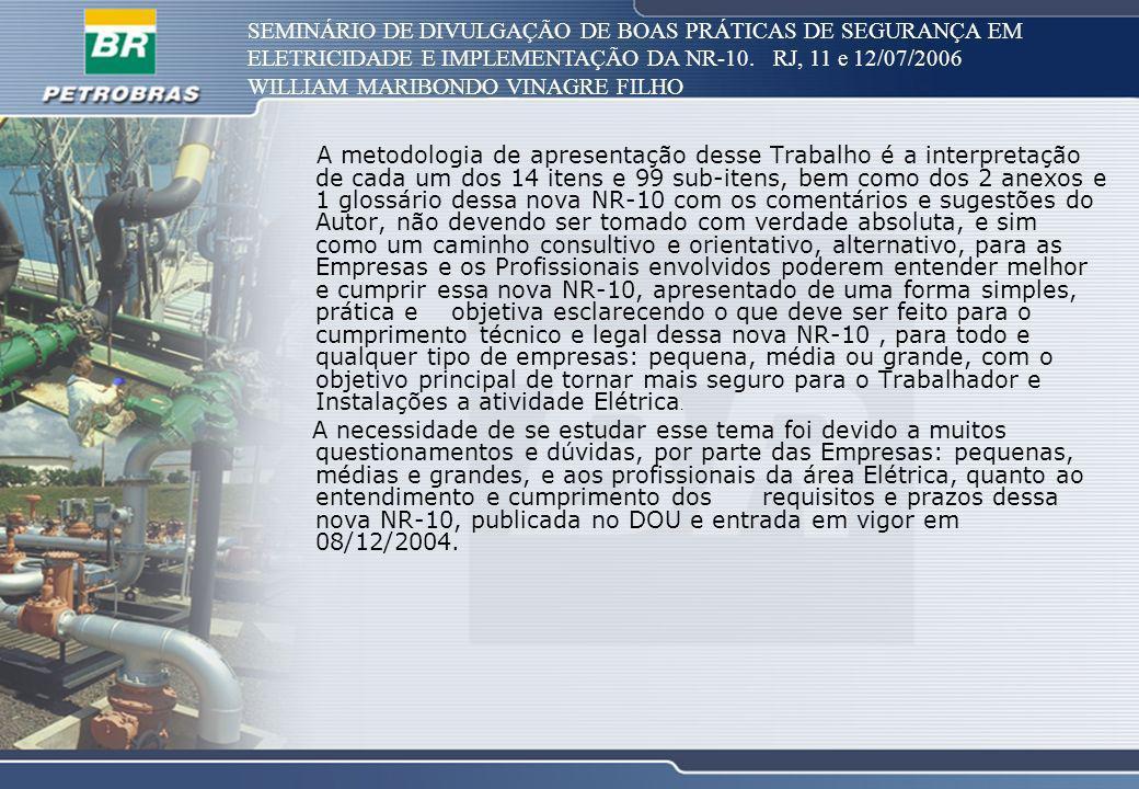 SEMINÁRIO DE DIVULGAÇÃO DE BOAS PRÁTICAS DE SEGURANÇA EM ELETRICIDADE E IMPLEMENTAÇÃO DA NR-10. RJ, 11 e 12/07/2006 WILLIAM MARIBONDO VINAGRE FILHO A