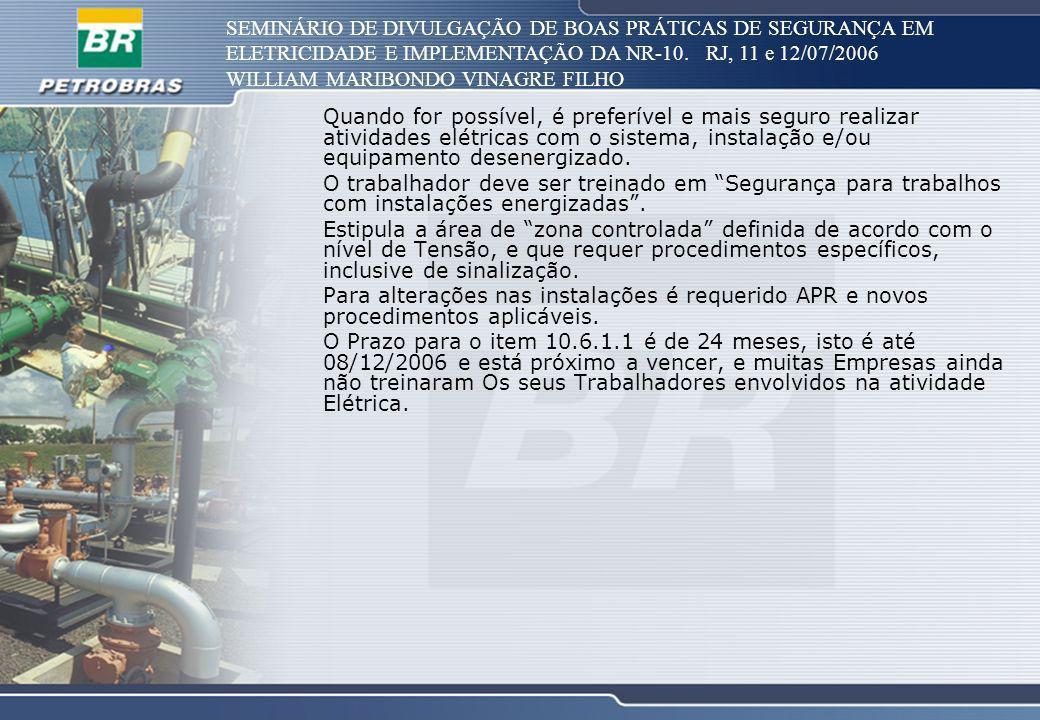 SEMINÁRIO DE DIVULGAÇÃO DE BOAS PRÁTICAS DE SEGURANÇA EM ELETRICIDADE E IMPLEMENTAÇÃO DA NR-10. RJ, 11 e 12/07/2006 WILLIAM MARIBONDO VINAGRE FILHO Qu
