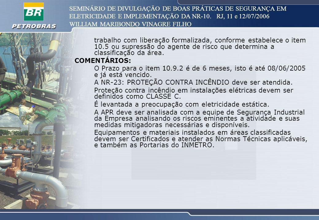 SEMINÁRIO DE DIVULGAÇÃO DE BOAS PRÁTICAS DE SEGURANÇA EM ELETRICIDADE E IMPLEMENTAÇÃO DA NR-10. RJ, 11 e 12/07/2006 WILLIAM MARIBONDO VINAGRE FILHO tr