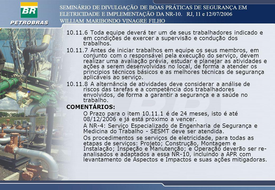 SEMINÁRIO DE DIVULGAÇÃO DE BOAS PRÁTICAS DE SEGURANÇA EM ELETRICIDADE E IMPLEMENTAÇÃO DA NR-10. RJ, 11 e 12/07/2006 WILLIAM MARIBONDO VINAGRE FILHO 10
