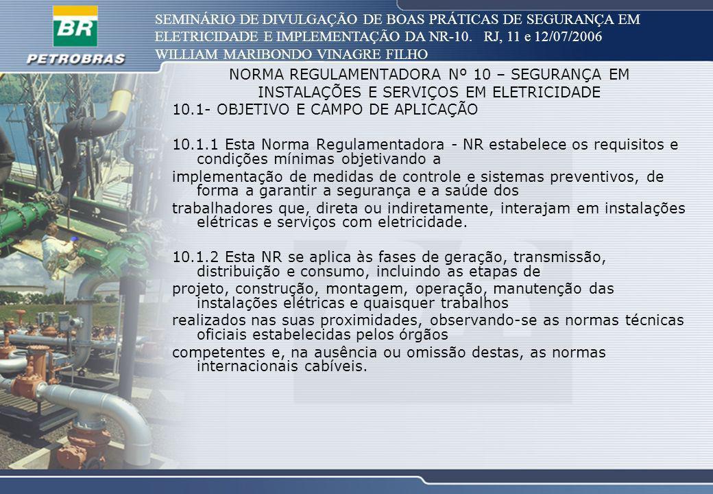 SEMINÁRIO DE DIVULGAÇÃO DE BOAS PRÁTICAS DE SEGURANÇA EM ELETRICIDADE E IMPLEMENTAÇÃO DA NR-10. RJ, 11 e 12/07/2006 WILLIAM MARIBONDO VINAGRE FILHO NO