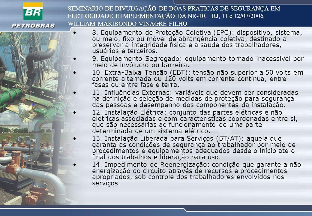 SEMINÁRIO DE DIVULGAÇÃO DE BOAS PRÁTICAS DE SEGURANÇA EM ELETRICIDADE E IMPLEMENTAÇÃO DA NR-10. RJ, 11 e 12/07/2006 WILLIAM MARIBONDO VINAGRE FILHO 8.