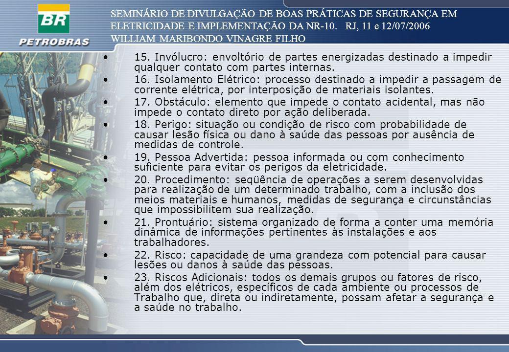 SEMINÁRIO DE DIVULGAÇÃO DE BOAS PRÁTICAS DE SEGURANÇA EM ELETRICIDADE E IMPLEMENTAÇÃO DA NR-10. RJ, 11 e 12/07/2006 WILLIAM MARIBONDO VINAGRE FILHO 15