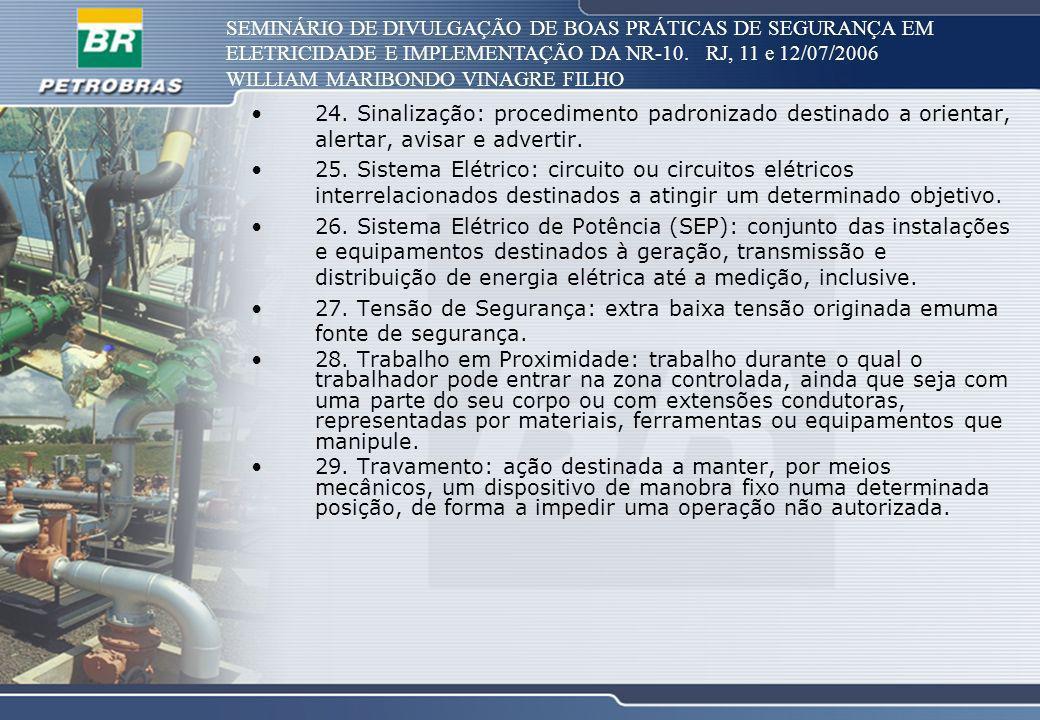 SEMINÁRIO DE DIVULGAÇÃO DE BOAS PRÁTICAS DE SEGURANÇA EM ELETRICIDADE E IMPLEMENTAÇÃO DA NR-10. RJ, 11 e 12/07/2006 WILLIAM MARIBONDO VINAGRE FILHO 24