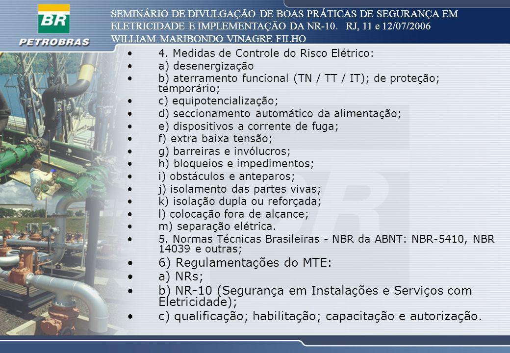 SEMINÁRIO DE DIVULGAÇÃO DE BOAS PRÁTICAS DE SEGURANÇA EM ELETRICIDADE E IMPLEMENTAÇÃO DA NR-10. RJ, 11 e 12/07/2006 WILLIAM MARIBONDO VINAGRE FILHO 4.