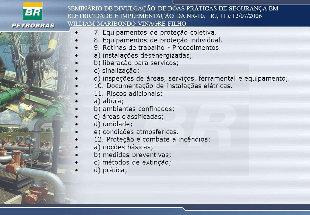 SEMINÁRIO DE DIVULGAÇÃO DE BOAS PRÁTICAS DE SEGURANÇA EM ELETRICIDADE E IMPLEMENTAÇÃO DA NR-10. RJ, 11 e 12/07/2006 WILLIAM MARIBONDO VINAGRE FILHO 7.