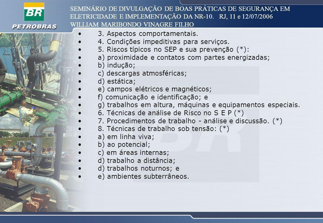SEMINÁRIO DE DIVULGAÇÃO DE BOAS PRÁTICAS DE SEGURANÇA EM ELETRICIDADE E IMPLEMENTAÇÃO DA NR-10. RJ, 11 e 12/07/2006 WILLIAM MARIBONDO VINAGRE FILHO 3.