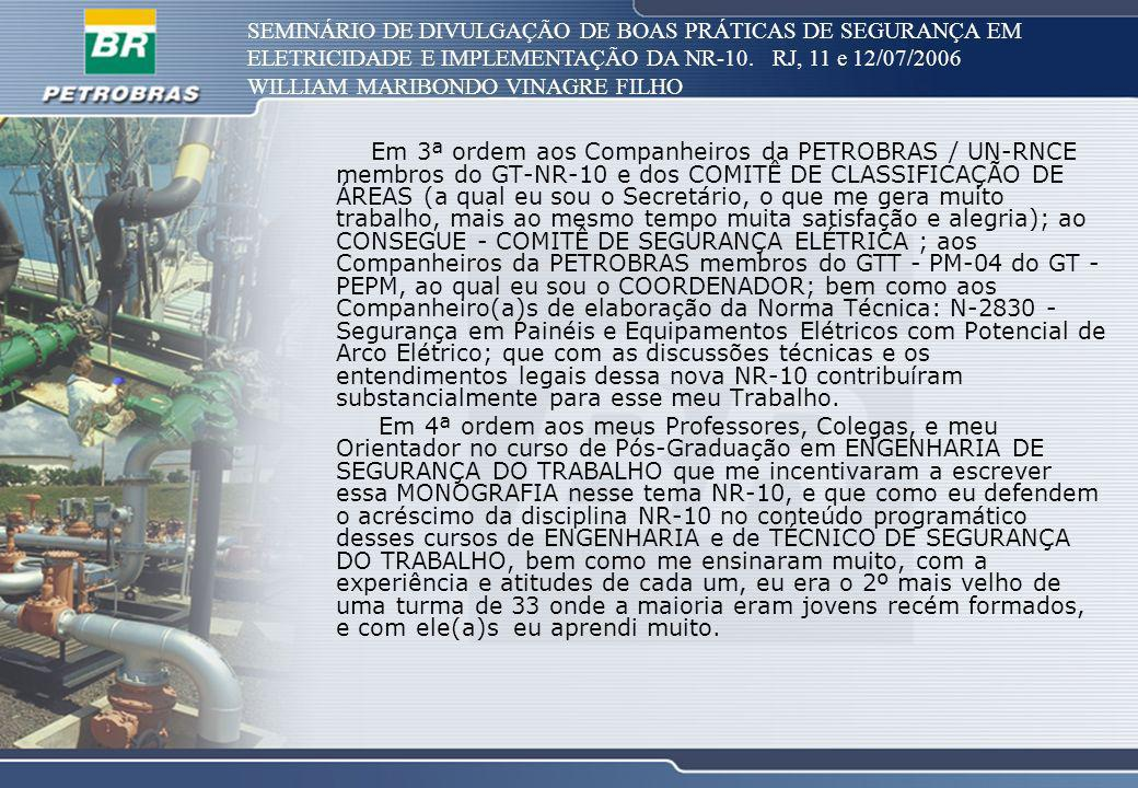 SEMINÁRIO DE DIVULGAÇÃO DE BOAS PRÁTICAS DE SEGURANÇA EM ELETRICIDADE E IMPLEMENTAÇÃO DA NR-10. RJ, 11 e 12/07/2006 WILLIAM MARIBONDO VINAGRE FILHO Em