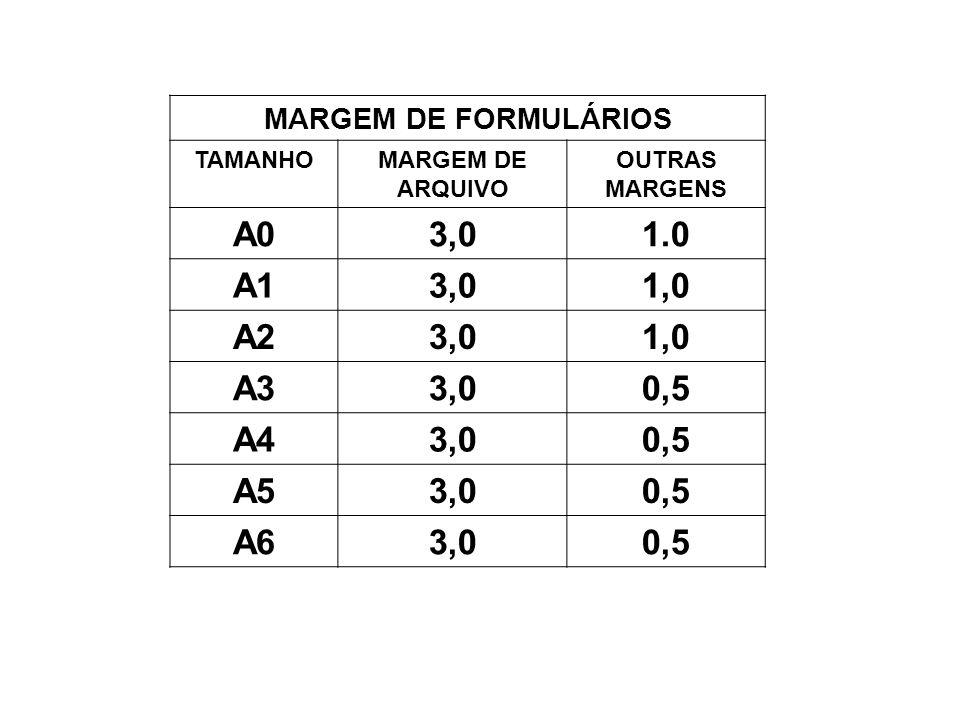MARGEM DE FORMULÁRIOS TAMANHOMARGEM DE ARQUIVO OUTRAS MARGENS A03,01.0 A13,01,0 A23,01,0 A33,00,5 A43,00,5 A53,00,5 A63,00,5