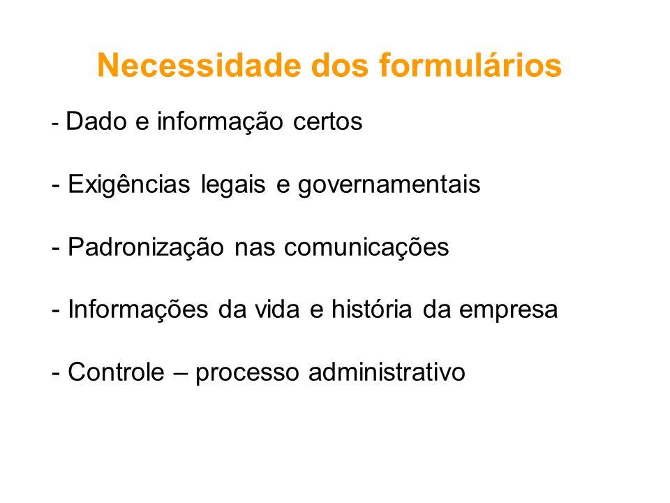 - Dado e informação certos - Exigências legais e governamentais - Padronização nas comunicações - Informações da vida e história da empresa - Controle