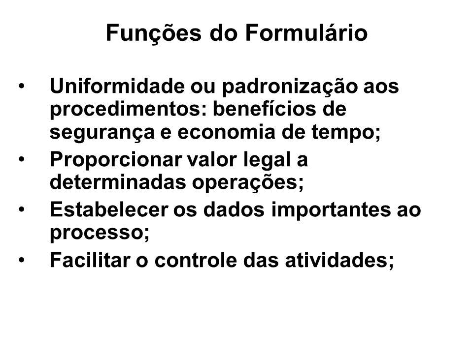 Funções do Formulário Uniformidade ou padronização aos procedimentos: benefícios de segurança e economia de tempo; Proporcionar valor legal a determin