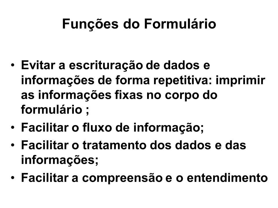 Funções do Formulário Evitar a escrituração de dados e informações de forma repetitiva: imprimir as informações fixas no corpo do formulário ; Facilit