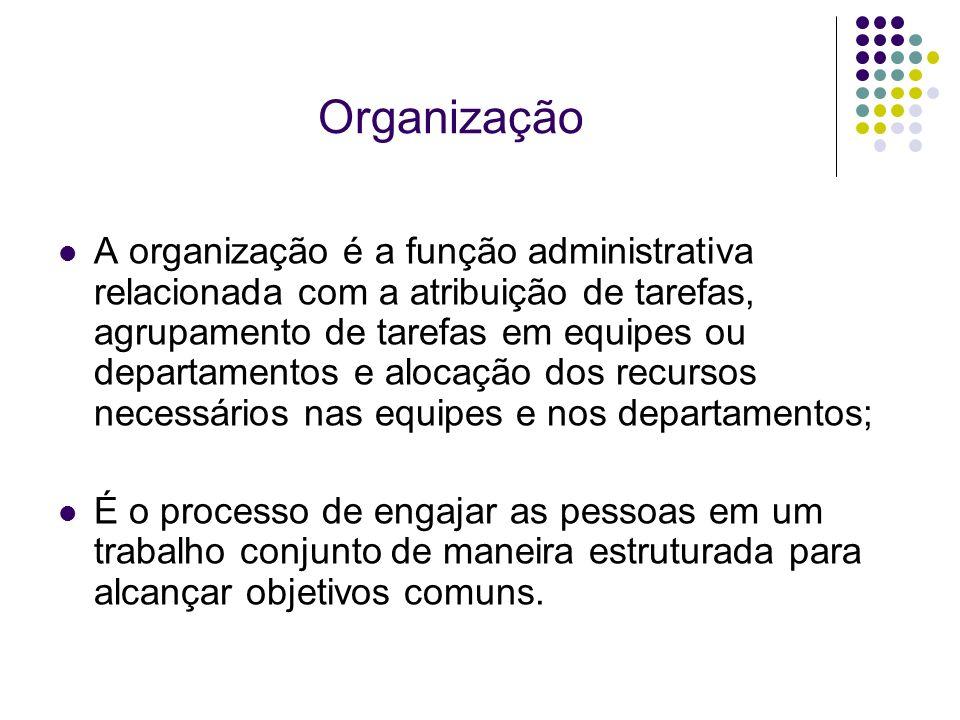 Organização A organização é a função administrativa relacionada com a atribuição de tarefas, agrupamento de tarefas em equipes ou departamentos e aloc