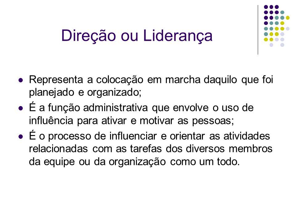 Direção ou Liderança Representa a colocação em marcha daquilo que foi planejado e organizado; É a função administrativa que envolve o uso de influênci