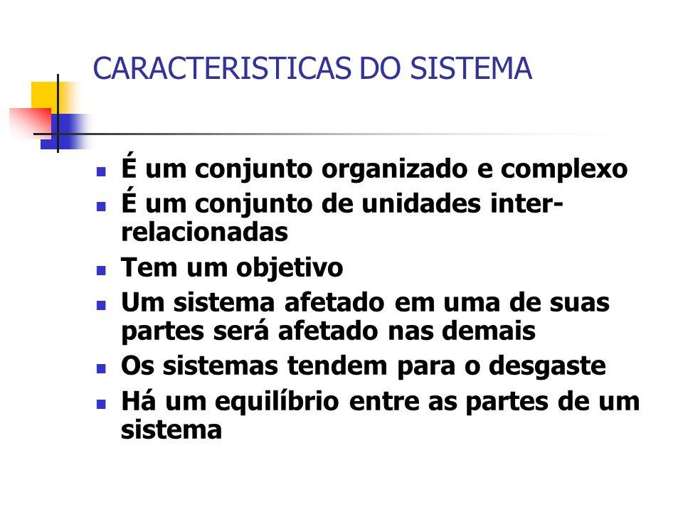 CARACTERISTICAS DO SISTEMA É um conjunto organizado e complexo É um conjunto de unidades inter- relacionadas Tem um objetivo Um sistema afetado em uma