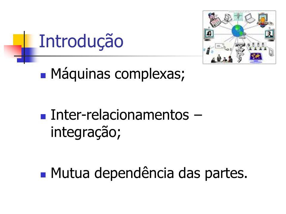 Introdução Máquinas complexas; Inter-relacionamentos – integração; Mutua dependência das partes.