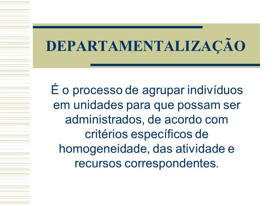 DEPARTAMENTALIZAÇÃO É o processo de agrupar indivíduos em unidades para que possam ser administrados, de acordo com critérios específicos de homogeneidade, das atividade e recursos correspondentes.