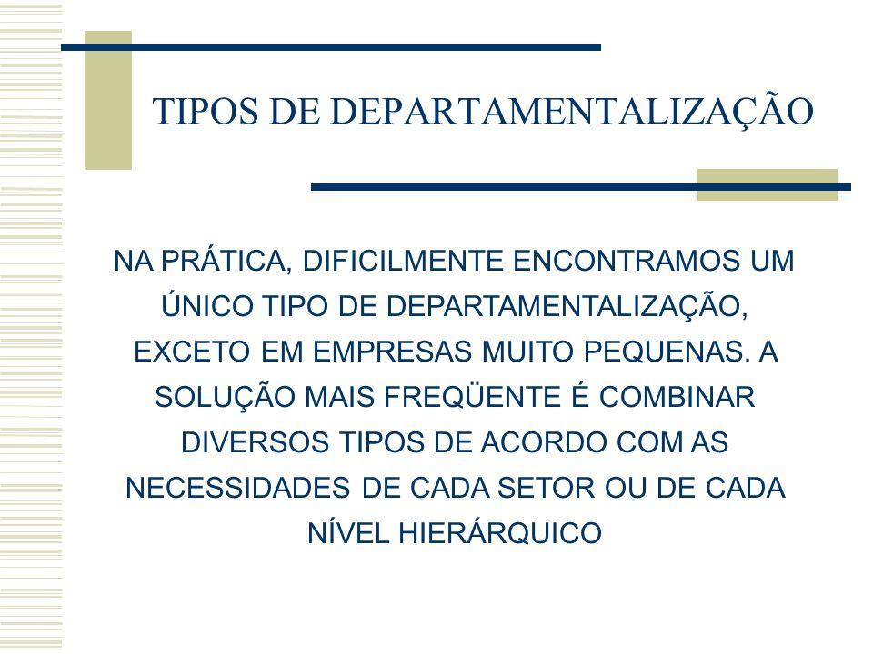 TIPOS DE DEPARTAMENTALIZAÇÃO NA PRÁTICA, DIFICILMENTE ENCONTRAMOS UM ÚNICO TIPO DE DEPARTAMENTALIZAÇÃO, EXCETO EM EMPRESAS MUITO PEQUENAS.