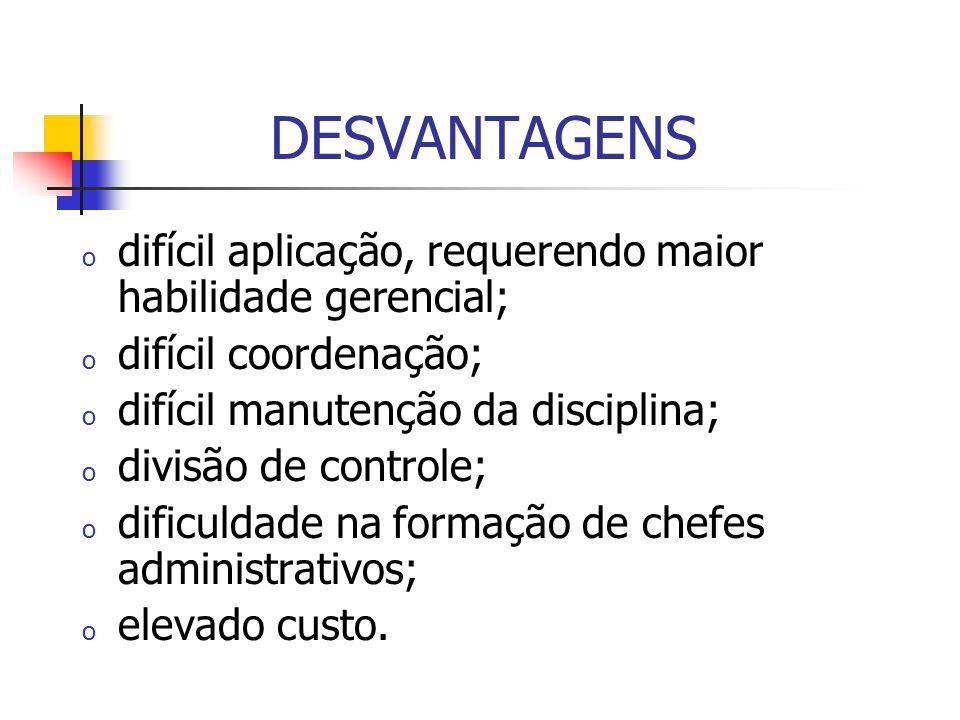 DESVANTAGENS o difícil aplicação, requerendo maior habilidade gerencial; o difícil coordenação; o difícil manutenção da disciplina; o divisão de contr