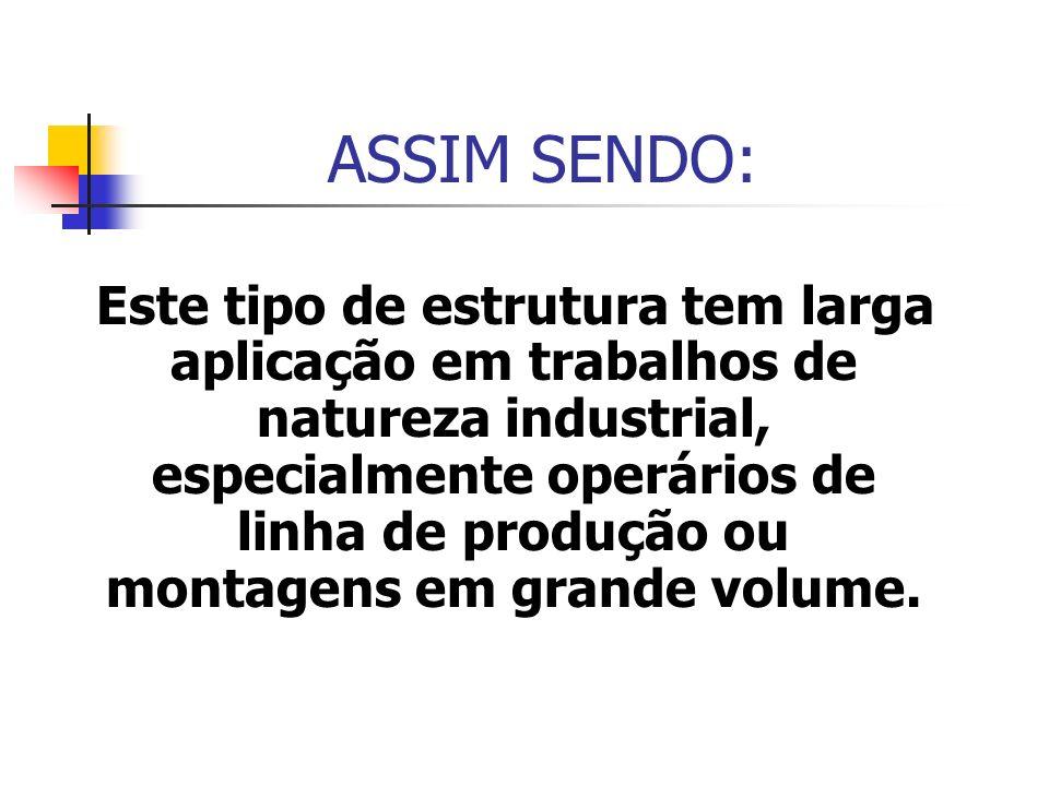 ASSIM SENDO: Este tipo de estrutura tem larga aplicação em trabalhos de natureza industrial, especialmente operários de linha de produção ou montagens