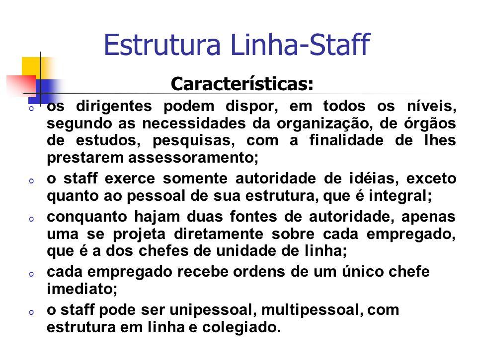 Estrutura Linha-Staff Características: o os dirigentes podem dispor, em todos os níveis, segundo as necessidades da organização, de órgãos de estudos,
