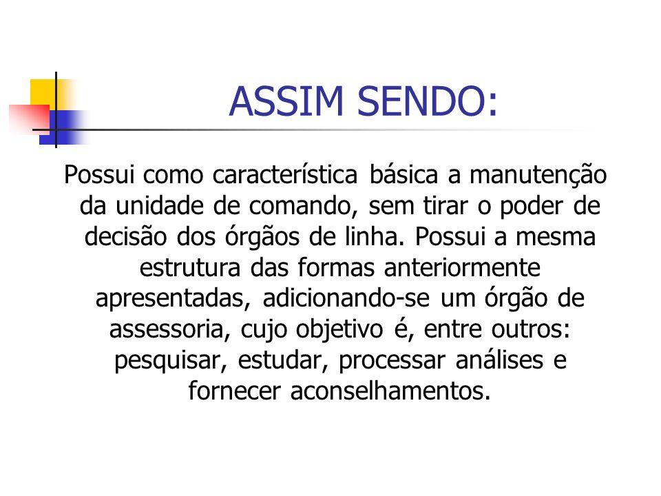 ASSIM SENDO: Possui como característica básica a manutenção da unidade de comando, sem tirar o poder de decisão dos órgãos de linha. Possui a mesma es