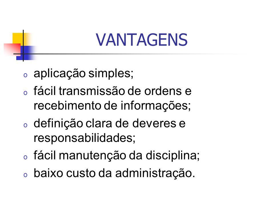VANTAGENS o aplicação simples; o fácil transmissão de ordens e recebimento de informações; o definição clara de deveres e responsabilidades; o fácil m