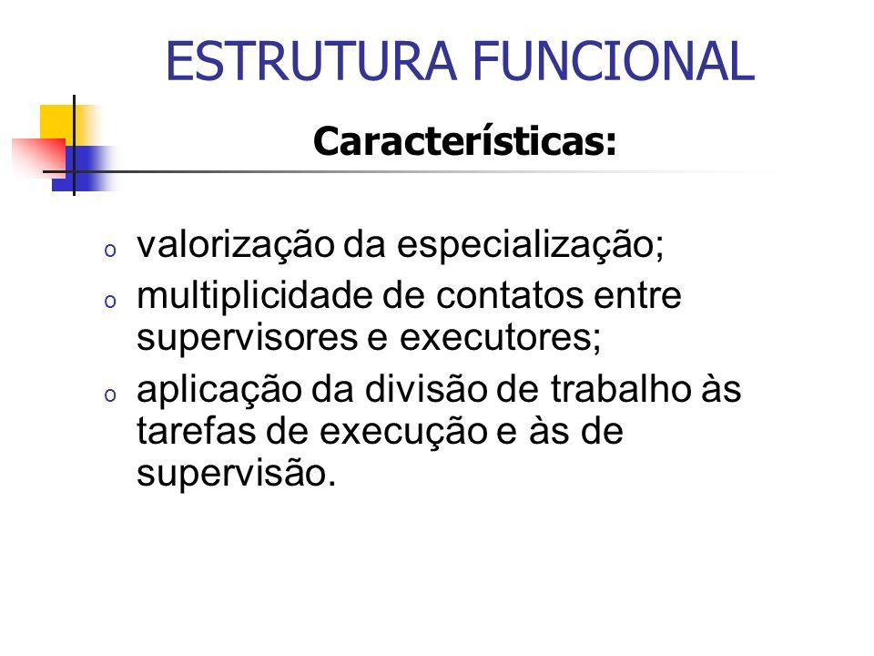 ESTRUTURA FUNCIONAL Características: o valorização da especialização; o multiplicidade de contatos entre supervisores e executores; o aplicação da div