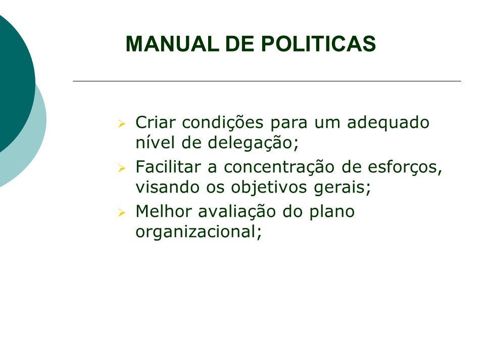 MANUAL DE POLITICAS Criar condições para um adequado nível de delegação; Facilitar a concentração de esforços, visando os objetivos gerais; Melhor ava