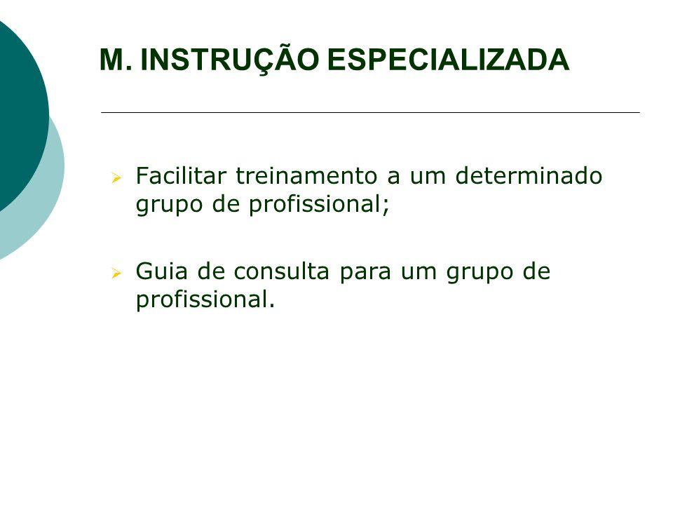 M. INSTRUÇÃO ESPECIALIZADA Facilitar treinamento a um determinado grupo de profissional; Guia de consulta para um grupo de profissional.
