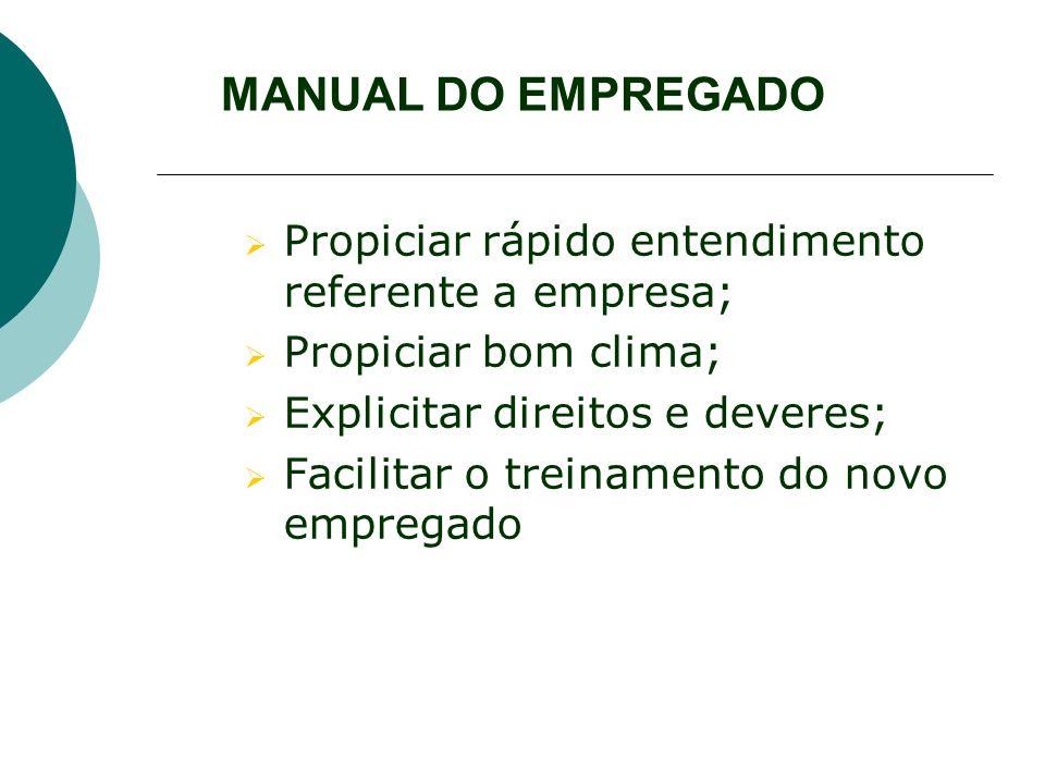 MANUAL DO EMPREGADO Propiciar rápido entendimento referente a empresa; Propiciar bom clima; Explicitar direitos e deveres; Facilitar o treinamento do