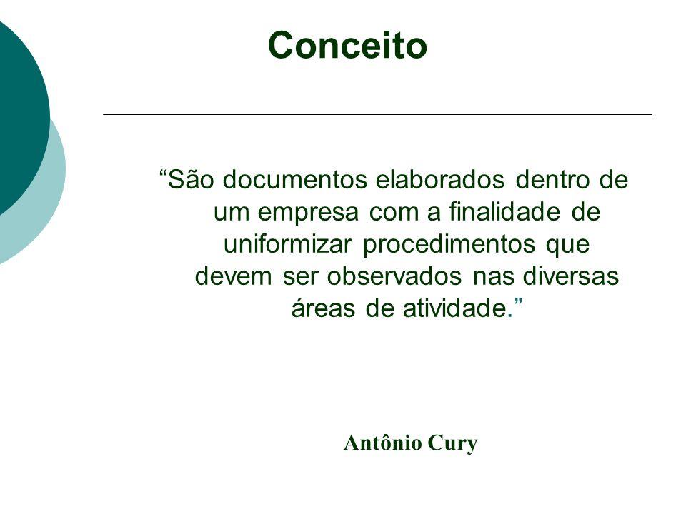 Conceito São documentos elaborados dentro de um empresa com a finalidade de uniformizar procedimentos que devem ser observados nas diversas áreas de a