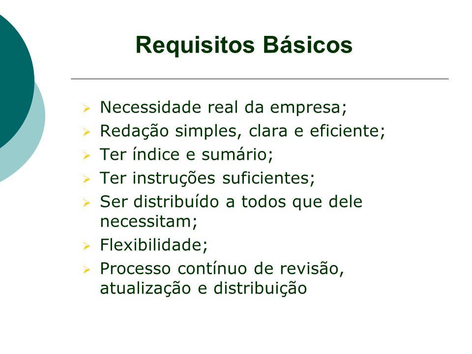 Requisitos Básicos Necessidade real da empresa; Redação simples, clara e eficiente; Ter índice e sumário; Ter instruções suficientes; Ser distribuído