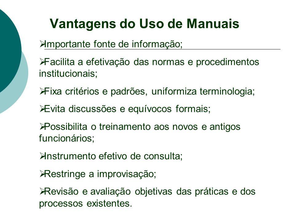 Vantagens do Uso de Manuais Importante fonte de informação; Facilita a efetivação das normas e procedimentos institucionais; Fixa critérios e padrões,