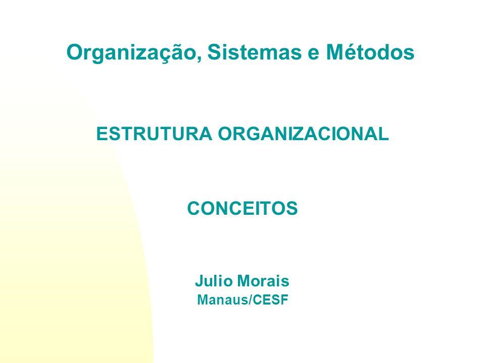 ESTRUTURA ORGANIZACIONAL CONCEITOS Julio Morais Manaus/CESF Organização, Sistemas e Métodos
