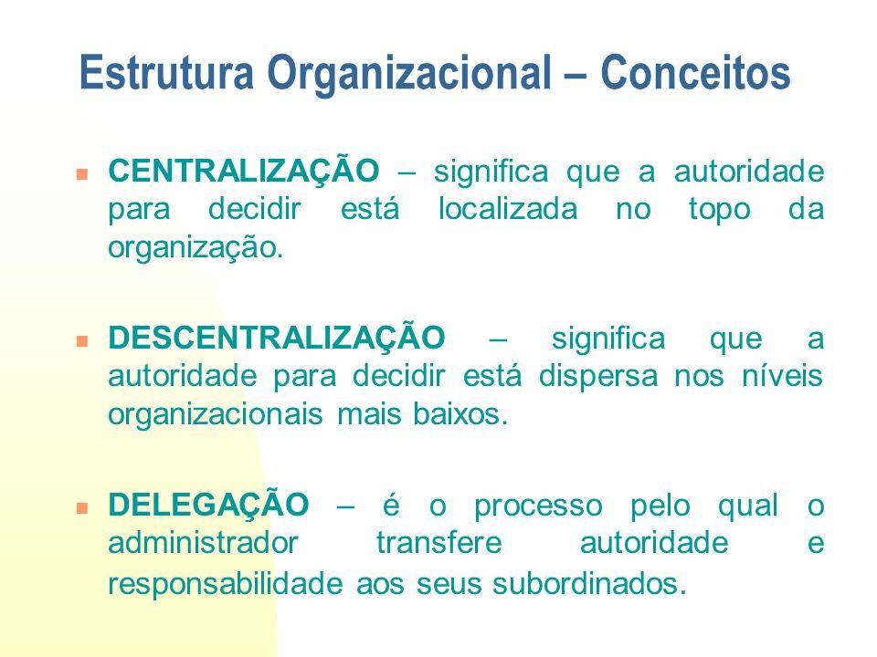 CENTRALIZAÇÃO – significa que a autoridade para decidir está localizada no topo da organização. DESCENTRALIZAÇÃO – significa que a autoridade para dec