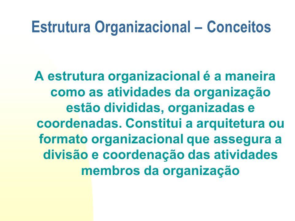A estrutura organizacional é a maneira como as atividades da organização estão divididas, organizadas e coordenadas. Constitui a arquitetura ou format