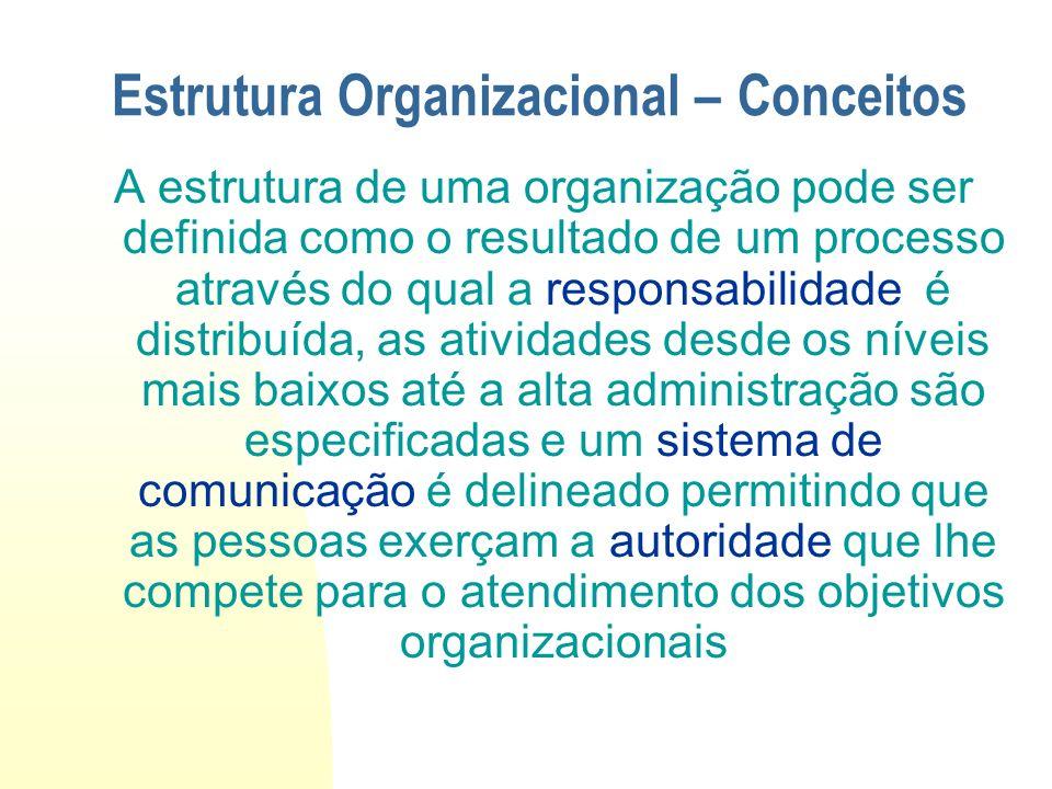 A estrutura de uma organização pode ser definida como o resultado de um processo através do qual a responsabilidade é distribuída, as atividades desde